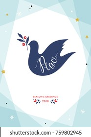 Season's greetings design. Christmas Dove of Peace. Contemporary geometric background with golden glitter stars and snowflakes. Vector illustration. Vertical template.