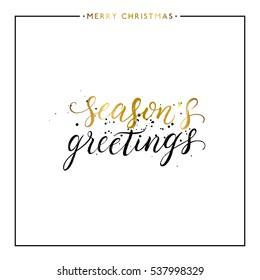 Jahreszeiten Grüße goldener Text mit schwarzem Splash einzeln auf weißem Hintergrund, handgemalter Brief, goldener Vektor-Weihnachtsbriefer für Visitenkarten, Poster, Druck, Einladung, handgeschriebene Kalligrafie