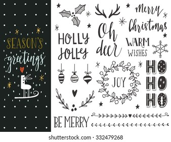 Season's greetings. Hand drawn Christmas holiday collection with lettering and decoration elements for greeting cards, stationary, gift tags, scrapbooking, invitations.