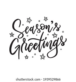 Season's Greetings. Hand drawn creative calligraphy and brush pen lettering.