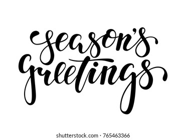 Season's Greetings. Hand drawn creative calligraphy, brush pen lettering. design holiday greeting cards and invitations of Merry Christmas and Happy New Year, banner, poster, logo, seasonal holiday.