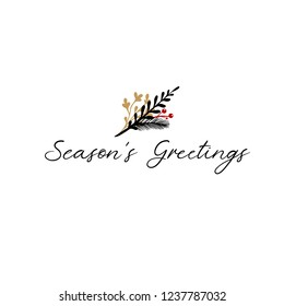 Season's Greetings Hand Lettering Greeting Card. Vector Illistration. Modern Calligraphy. Handwritten Christmas Decor. Isolated on white background.