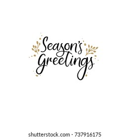 Season's Greetings Hand Lettering Greeting Card. Vector Illistration. Modern Calligraphy. Handwritten Christmas Decor