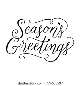 Season's Greetings Hand-lettered holiday message isolated on a white background