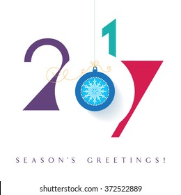 Seasons greetings. Happy New 2017 year. Colorful, contemporary design. Illustration.