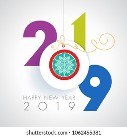 Seasons greetings. Happy New 2019 year. Colorful, contemporary design. Vector illustration and photo image available.