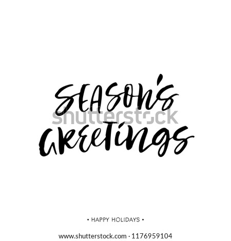 Seasons greetings holiday greeting card calligraphy stock vector seasons greetings holiday greeting card with calligraphy quote handwritten modern brush lettering phrase m4hsunfo