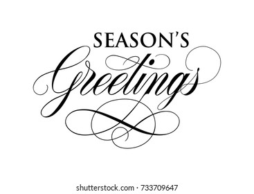 Seasons Greetings Inscription With Flourishes