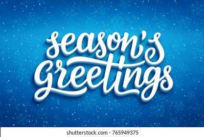Seasons greetings lettering on blue blurry vector background with sparkles. Greeting card design template with 3D typography label