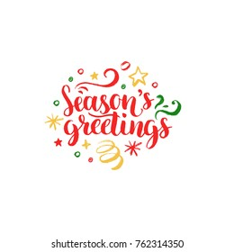 Seasons Greetings lettering on white background. Vector hand drawn Christmas illustration. Happy Holidays greeting card, poster template.