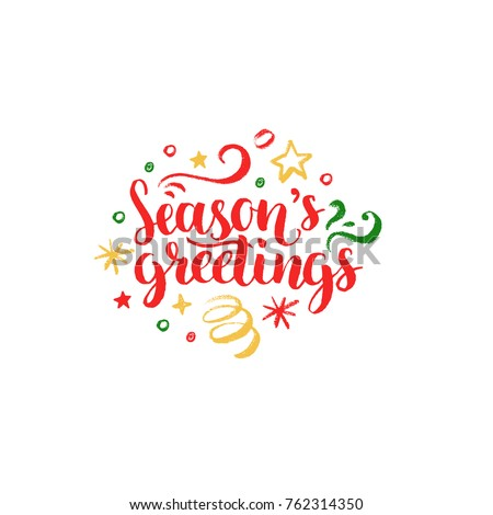 Seasons Greetings >> Seasons Greetings Lettering On White Background Stock Vector