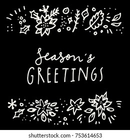Seasons greetings merry christmas holiday season stock vector seasons greetings merry christmas and holiday season calligraphic hand drawn greeting card in black and m4hsunfo