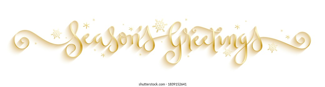 SEASON'S GREETINGS metallic gold vector brush calligraphy banner with spiral flourishes and snowflakes