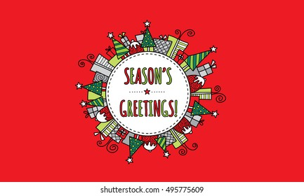 Season's Greetings Modern Bright Christmas doodle vector illustration with the words season's greetings in a circle surrounded by christmas trees, presents, puddings, and stars on a red background.