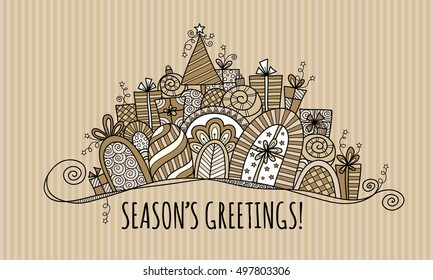 Season's Greetings Modern Christmas doodle vector illustration with the words season's greetings under a banner of presents, baubles, a christmas tree, swirls and stars on gold stripe background