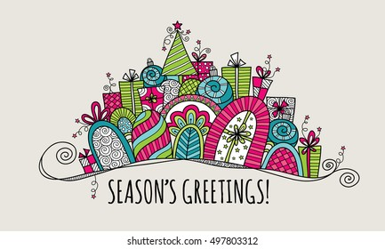 Season's Greetings Modern Christmas doodle vector illustration with the words season's greetings under a banner of presents, baubles, a christmas tree, swirls and stars on silver background