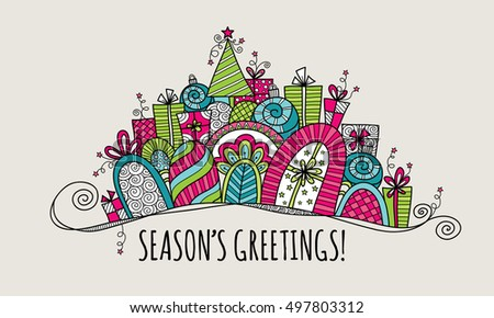 Seasons greetings modern christmas doodle vector stock vector seasons greetings modern christmas doodle vector illustration with the words seasons greetings under a banner of m4hsunfo