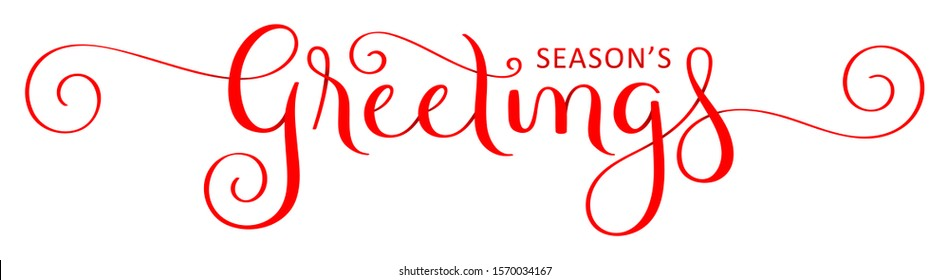 SEASON'S GREETINGS red vector ribbon-effect brush calligraphy with flourishes