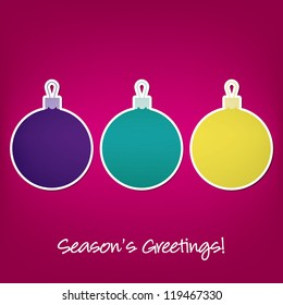 Season's Greetings sticker bauble card in vector format.
