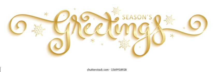 SEASON'S GREETINGS vector brush calligraphy with flourishes and snowflakes