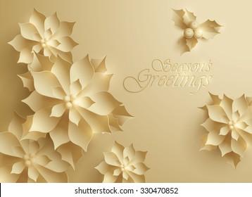 Seasons Greetings. Vector paper graphic of Christmas flower.