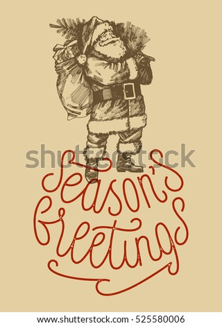 Seasons greetings vintage rubber stamp card stock vector royalty seasons greetings vintage rubber stamp card old paper old fashioned santa drawing m4hsunfo