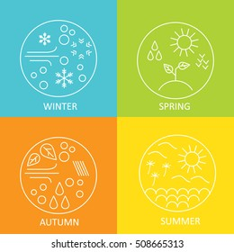 Seasons. The weather in winter, spring, summer, autumn. Round modern emblems weather all seasons. Vector illustration.