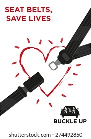 Seat belt with a glowing outline heart and a car with family wearing safety belts. Buckle Up Awareness Campaign Poster template editable vector.