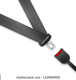 Seat Belt icon isolated on white background. Safety of movement on car, airplane. Vector illustration realistic design. Protection driver and passengers. Fastened buckle symbol.