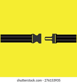 Seat belt on yellow background vector isolated. Safety belt symbol, security belt sign.