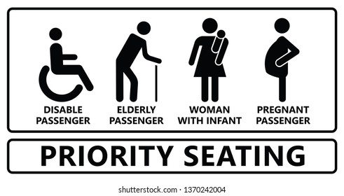 Seat priority icon Seating signs   Disable passenger, wheelchair, cripple, pregnant woman or with infant baby icons Traffic mobility symbol Using in public transportation, bus, metro, train, airport