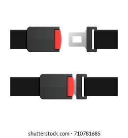 Seatbelt. Open and Closed Set. Vector