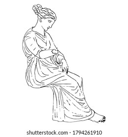 Seated ancient Greek woman. Antique sculpture. Hand drawn linear doodle ink sketch. Black silhouette on white background.