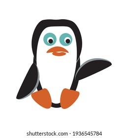 Seated cartoon penguin. Cute little penguin.