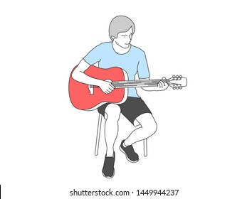 Seated musician plays the guitar. Vector illustration line.