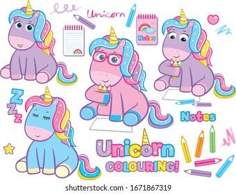Seated Pastel Unicorns Pencil Notes