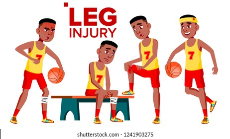 Seating Basketball Sportsman Athlete With Leg Injury Vector. Isolated Cartoon Illustration