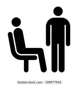 Seating and standing man. Waiting room symbol isolated on white background