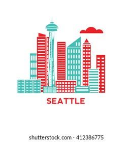 Seattle city architecture retro vector illustration, skyline city silhouette, skyscraper, flat design