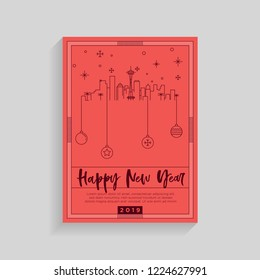 Seattle City New Year Card Design Template