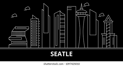 Seattle city silhouette skyline. USA - Seattle city vector city, american linear architecture, buildings. Seattle city travel illustration, outline landmarks. USA flat icon, american line banner