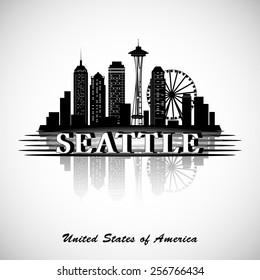 Seattle city skyline. Vector silhouettes of landmarks. USA.