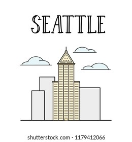 Seattle city Smith's tower building colored line art illustration.