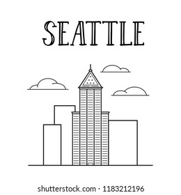 Seattle city Smith's tower line art illustration.