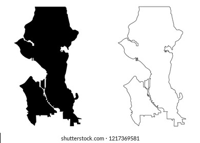 Seattle City ( United States cities, United States of America, usa city) map vector illustration, scribble sketch City of Seattle map