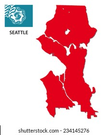 seattle map with flag