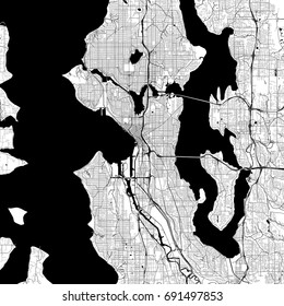 Seattle Monochrome Vector Map. Very large and detailed outline Version on White Background. Black Highways and Railroads, Streets and Water.