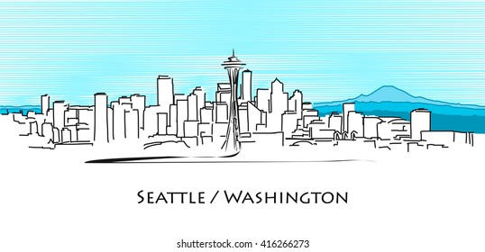 Seattle Panorama, Hand Drawn Outline Artwork, Vector Sketch