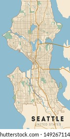 Seattle road and neighbourhood map. Washington.