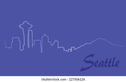 Seattle silhouette drawn with one line, purple background